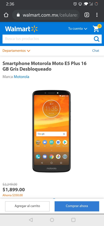 Walmart: Moto E5 plus 16gb (Gris) Libre