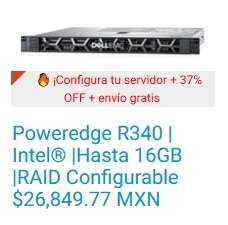 Dell: 	Servidor de Rack - Poweredge R340 | Intel® |Hasta 16GB |RAID