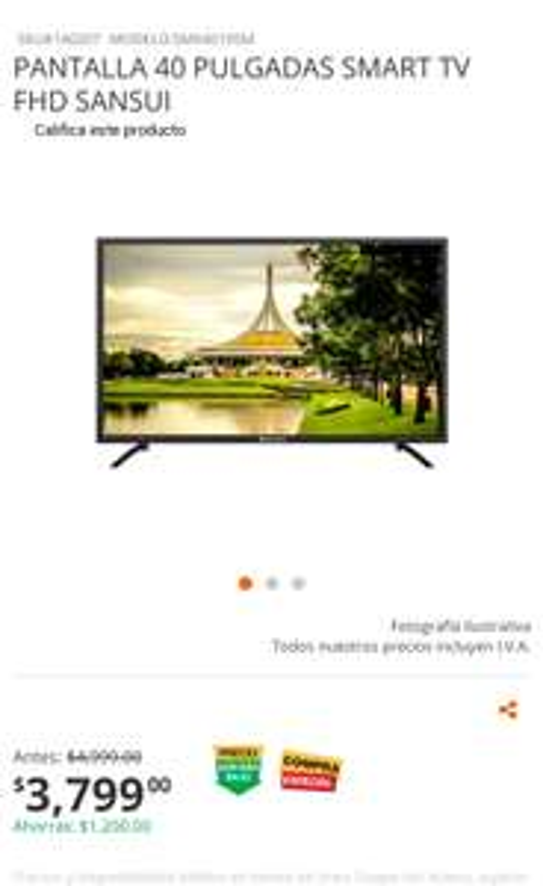 Home Depot: Smart tv Sansui 40''
