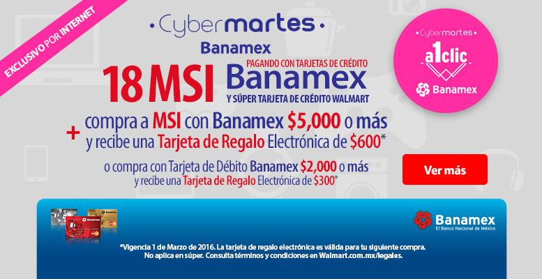 Walmart CyberMartes Banamex marzo 1: $300 de bonificación por $2,000 de compra y más