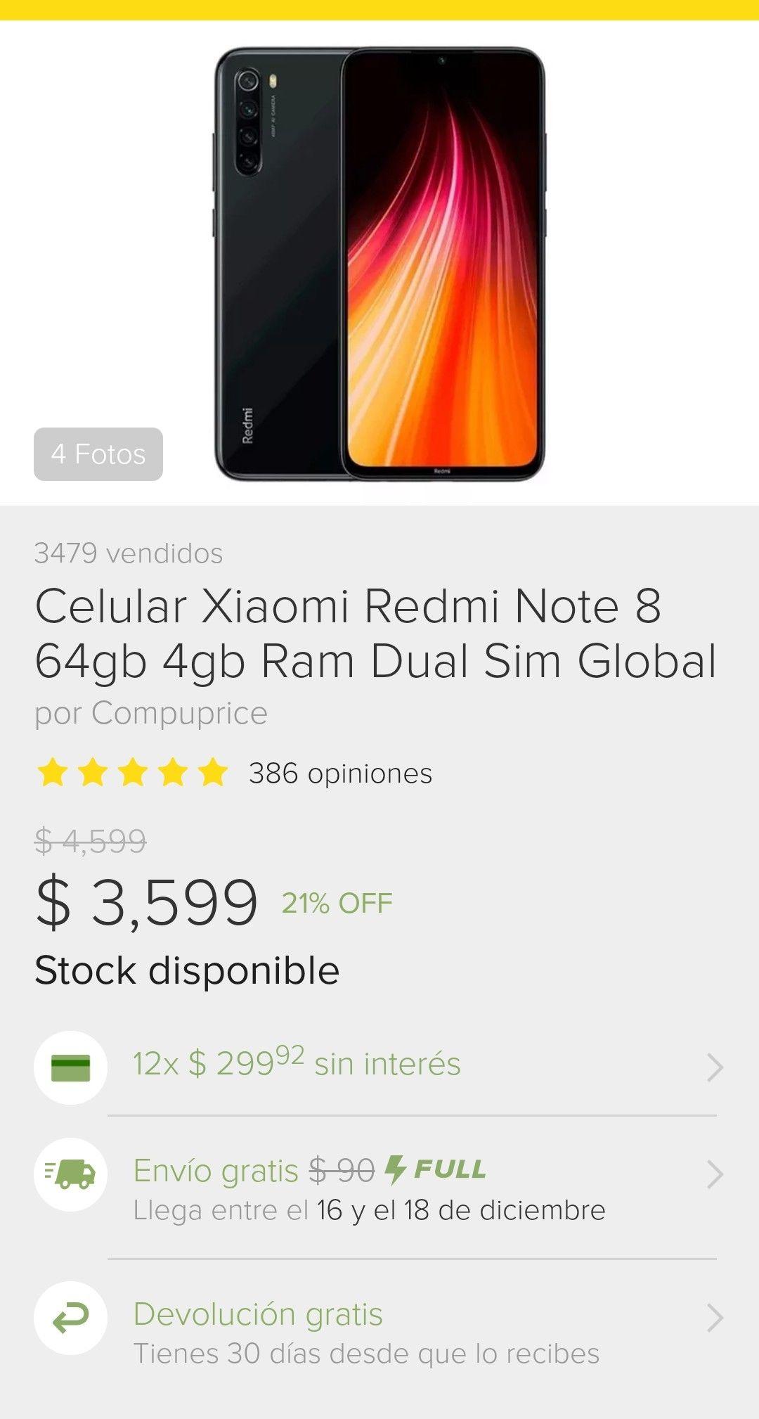 Tienda oficial Compuprice en Mercado Libre: Xiaomi Redmi Note 8 4gb Ram, 64gb de almacenamiento