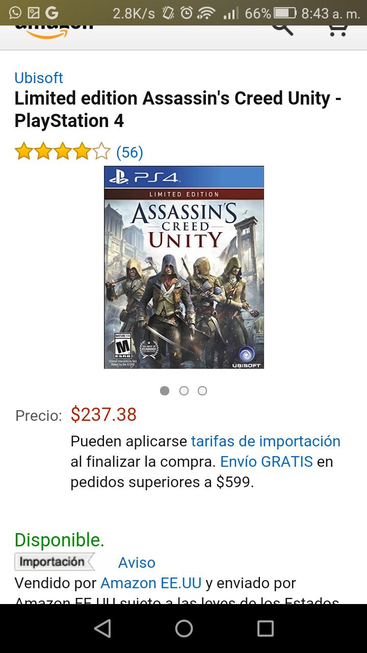 Amazon MX: Edición limitada de Assassin's Creed Unity para PlayStation 4 a $237.38