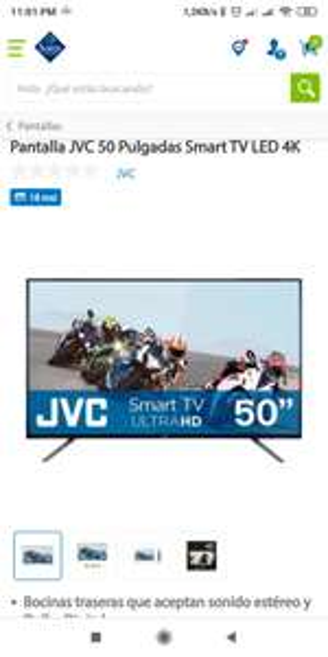 Sam's Club Pantalla JVC 50 pulgadas Smart TV 4K UHD