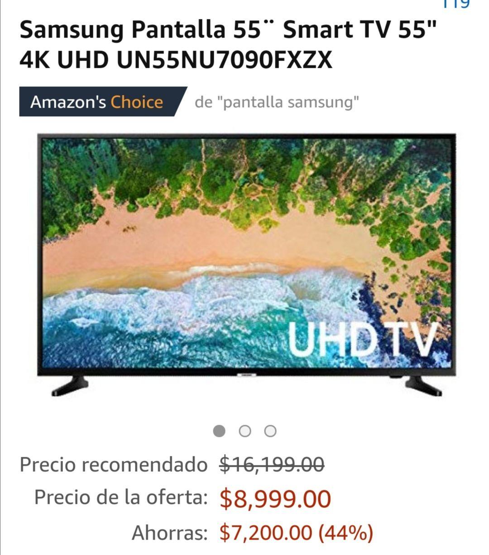 """Amazon:Samsung Pantalla Smart TV 55"""" 2019 4K UHD UN55NU7090FXZX"""
