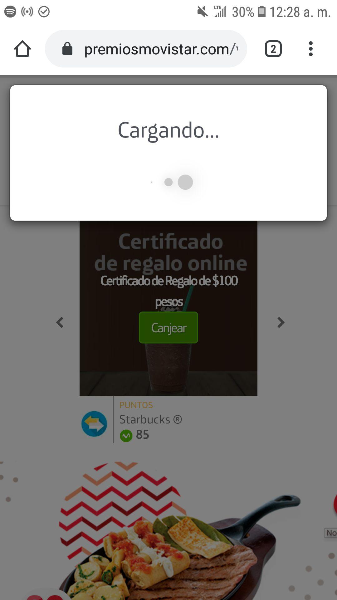 Movistar: CERTIFICADO DE REGALO STARBUCKS de $100 por 85 puntos