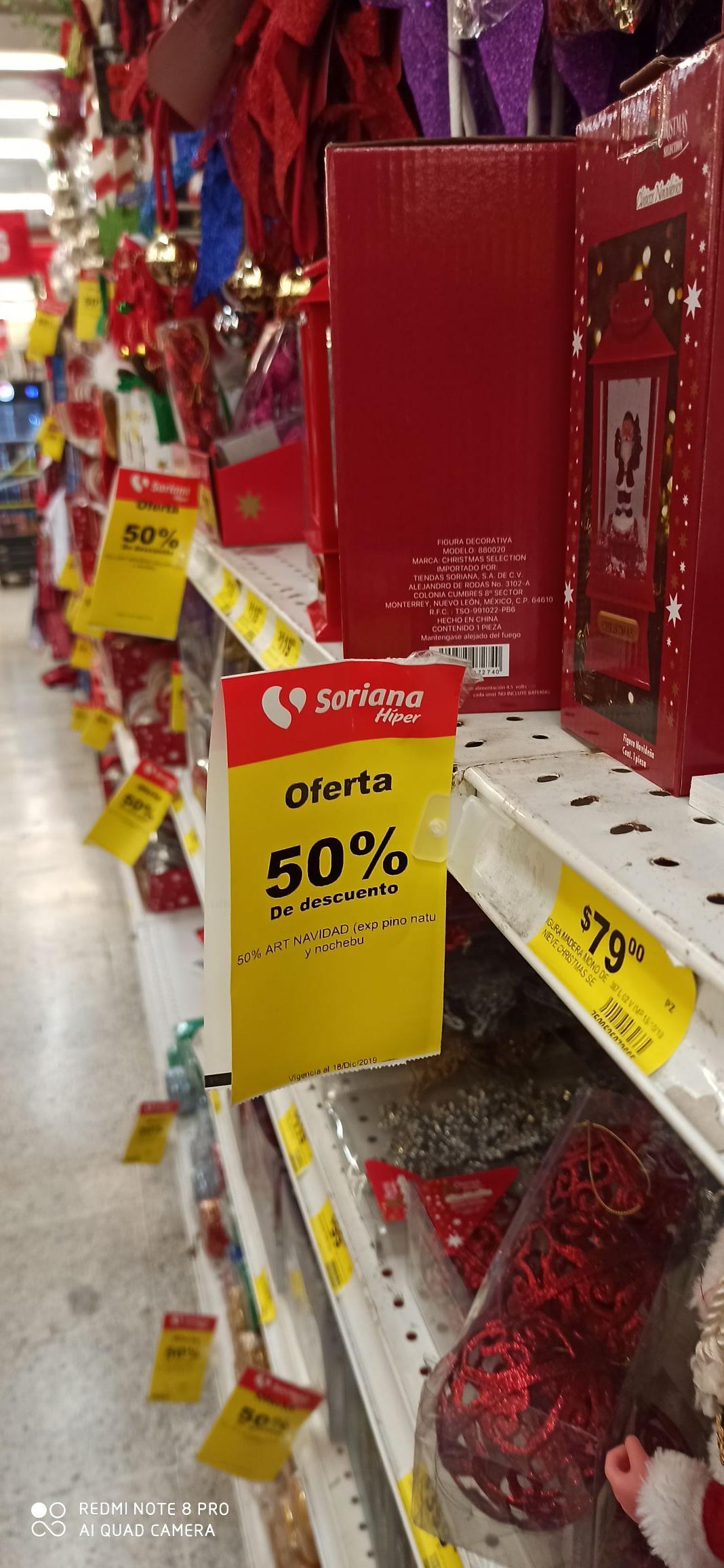 Soriana: 50% de descuento en Artículos de Navidad
