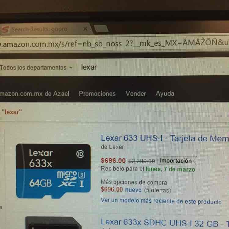 Amazon: memoria MicroSD 64Gb Lexar 633 UHS-I a $699