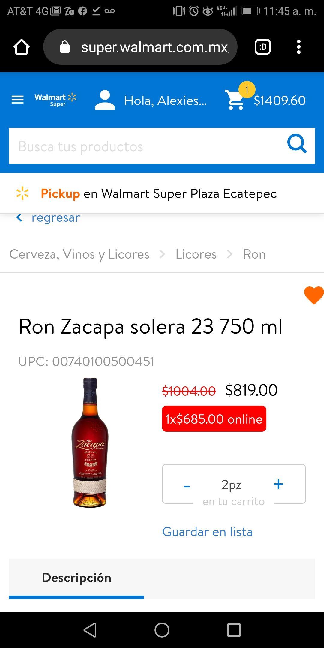 Walmart: Ron Zacapa 23 años