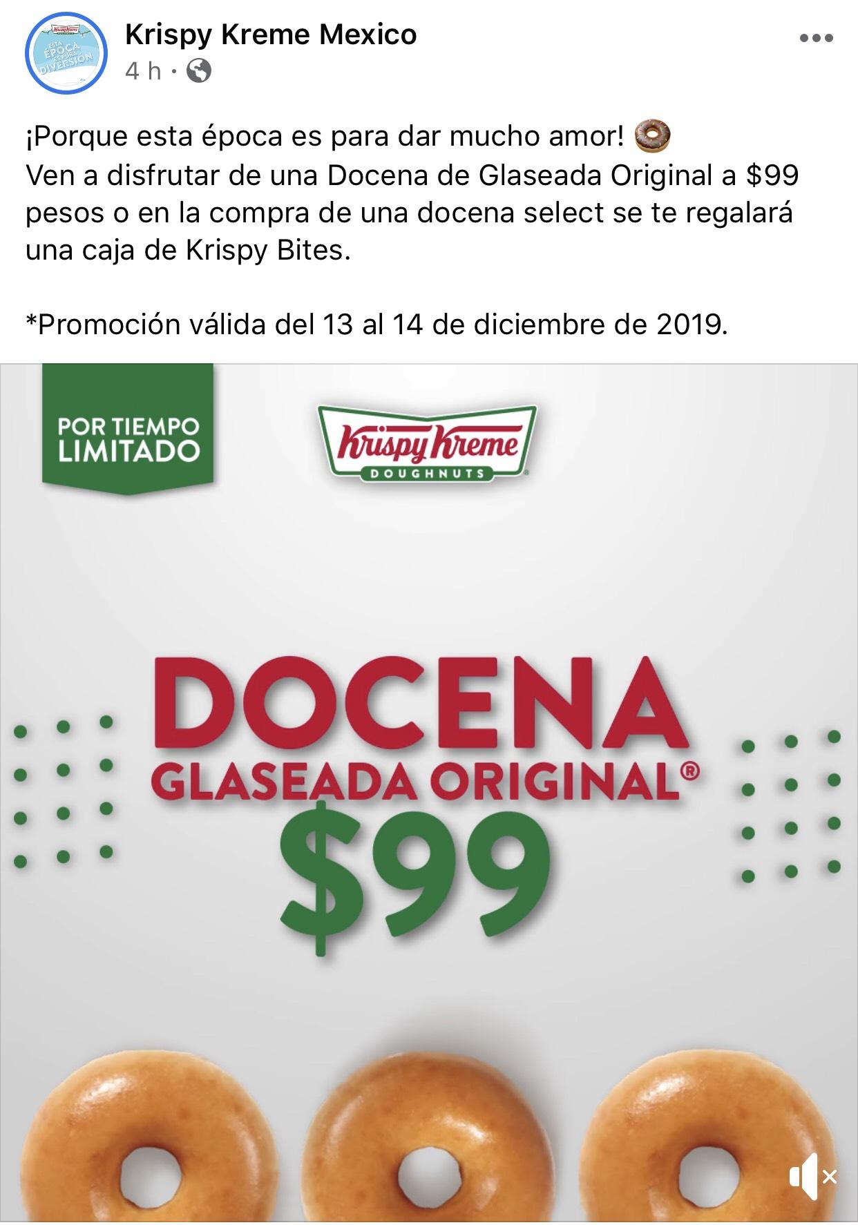 Krispy Kreme: Docena Glaseada Original $99 del 13 al 14 de Diciembre