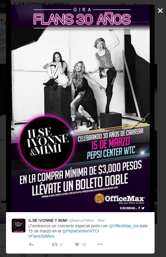 Office Max: En compra mínima de 3000 pesos boleto doble para concierto de Flans