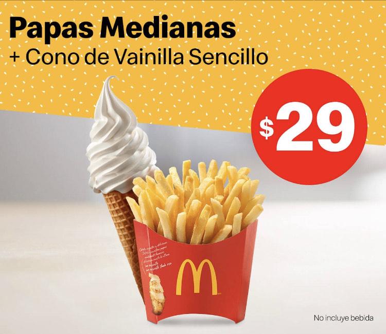 App McDonald's: Papas Medianas y Cono Sencillo