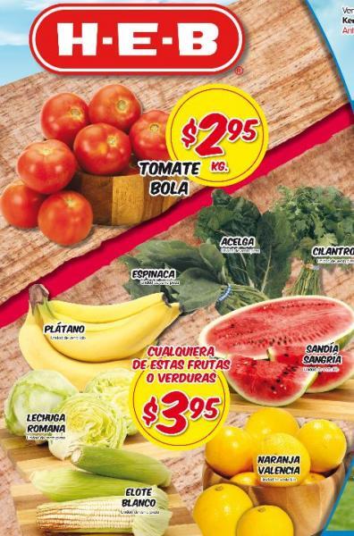 Frutas y verduras HEB abril 16: tomate bola $2.95, plátano $3.95 y más