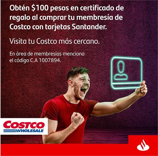 Costco: Compra o renueva tu membresía con Santander y obtén $100 en certificado de regalo