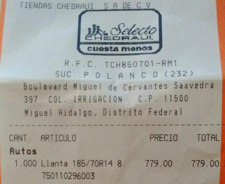 Chedraui: Llanta Firestone 185/70R14 a $779