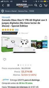 Amazon Xbox One S 1TB All Digital con 3 juegos digitales