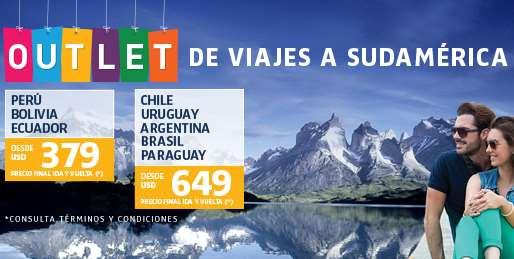 LAN: outlet de viajes a Sudamérica (ejemplo DF - Perú redondo $373 USD)