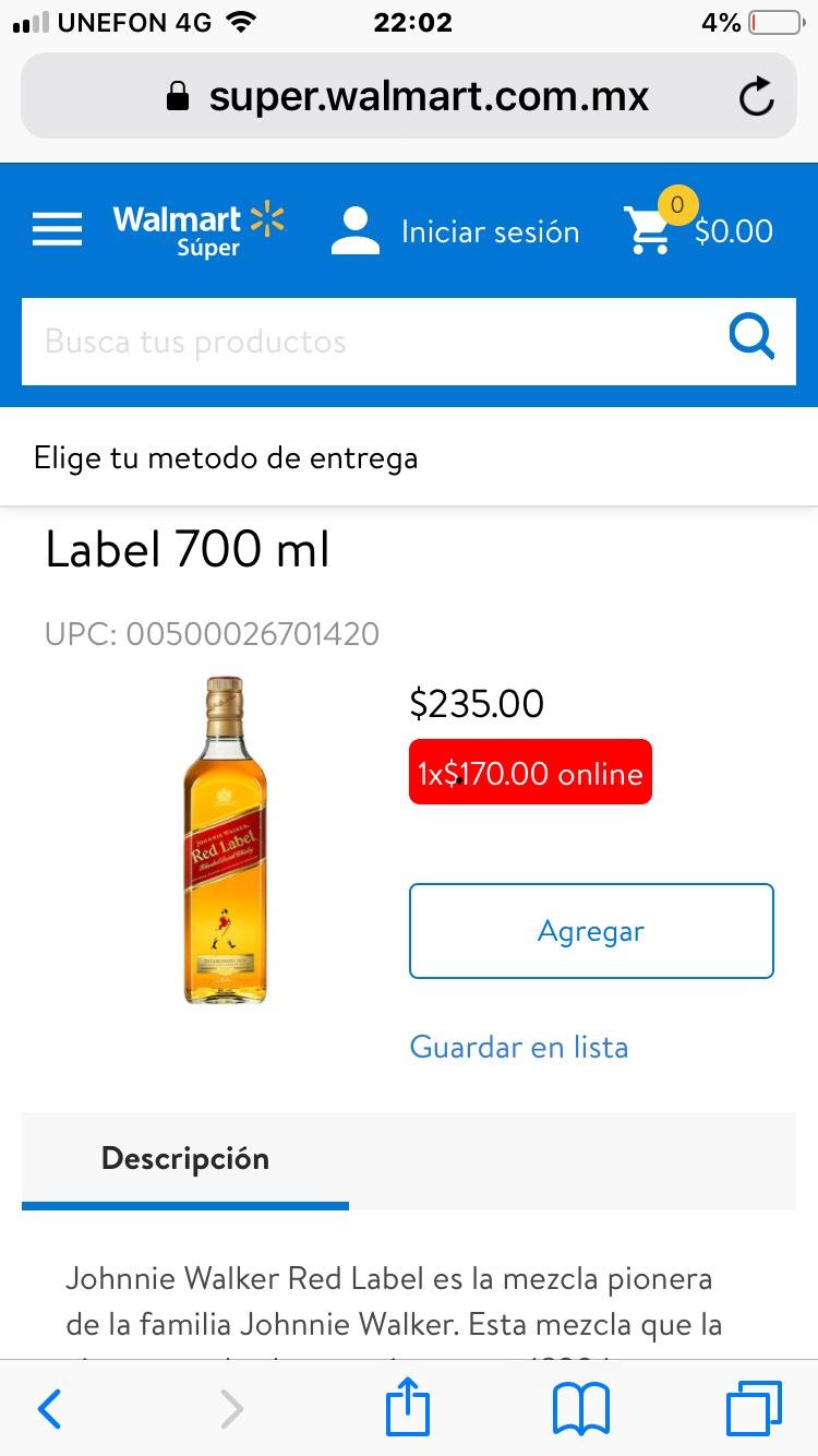 Walmart Red label 700ml