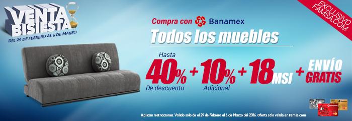 FAMSA en línea: Todos los muebles con descuento de hasta 40%+10%+18MSI+envío gratis pagando con Banamex