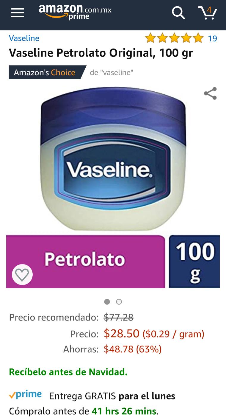 Amazon: Vaseline Petrolato Original, 100 g