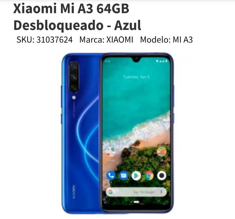 Elektra: Xiaomi Mi A3 (Pagando con paypal más cupón 300 sig compra)