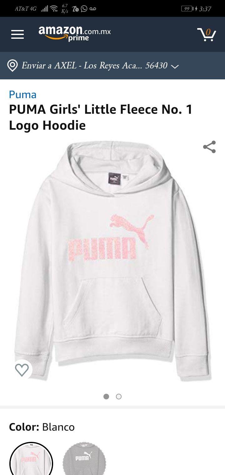 Amazon: PUMA Girls' Little Fleece No. 1 Logo Hoodie, White, 5