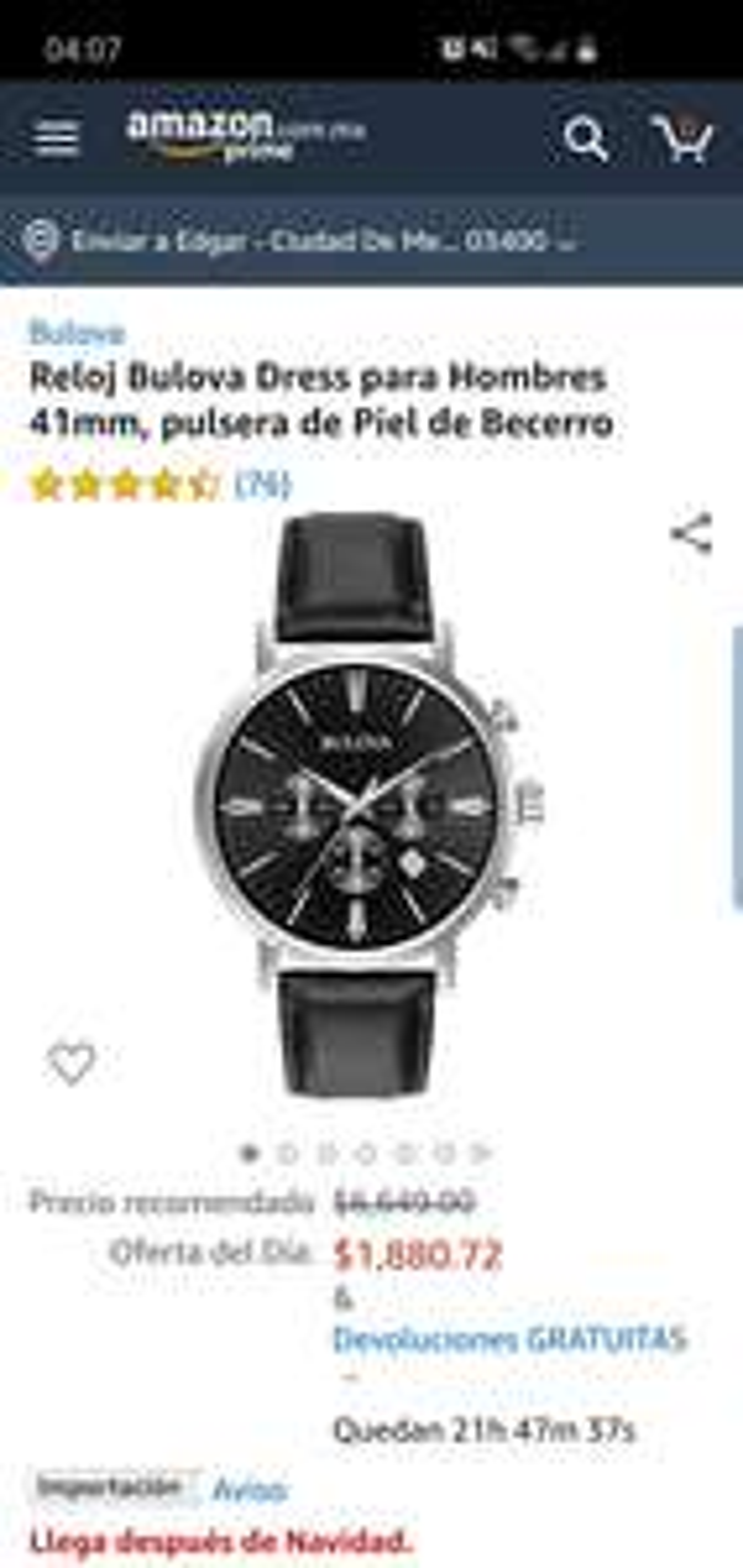 Amazon Reloj Bulova Dress para Hombres 41mm, pulsera de Piel de Becerro