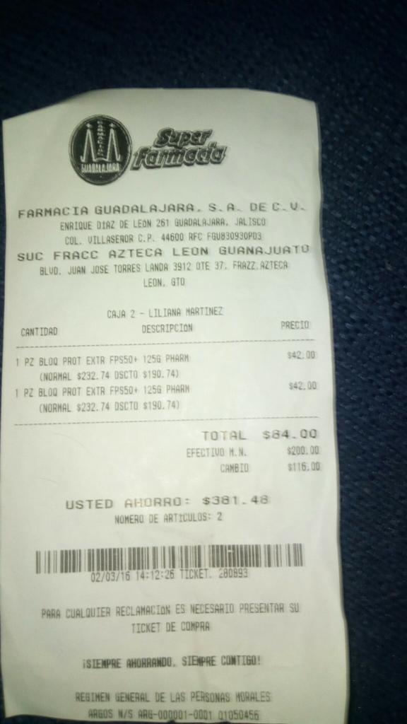 Farmacias Guadalajara: Bloqueador solar factor 50 a $42
