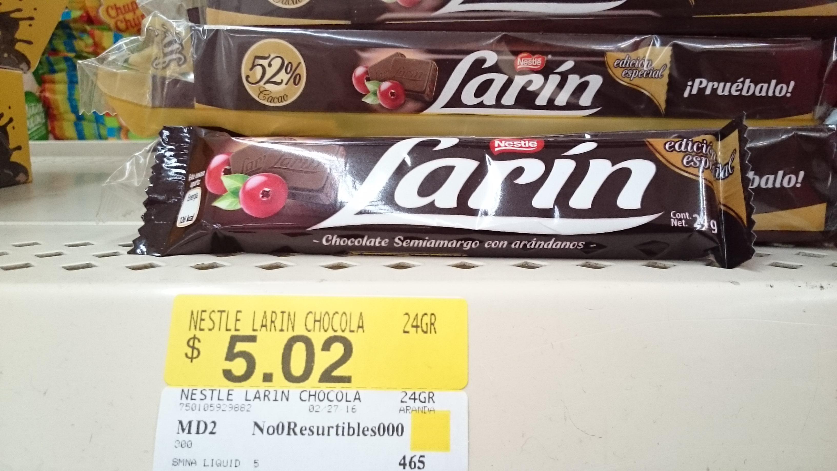 Walmart: chocolate Nestlé Larin de 24gr a $5.02