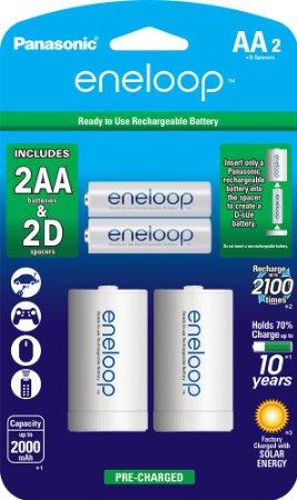 Amazon: Baterias D recargables (baterias AA con spacers tipo D)