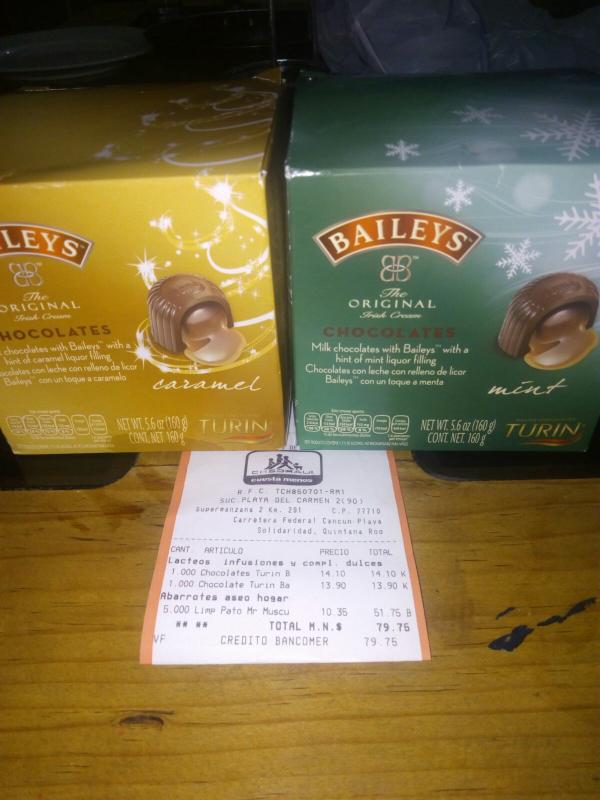 Chedraui Las Americas Playa del Carmen: chocolates Turin Baileys a $14