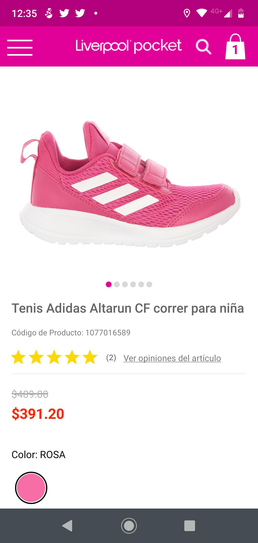 Liverpool: Tenis Adidas AltaRun para niña.