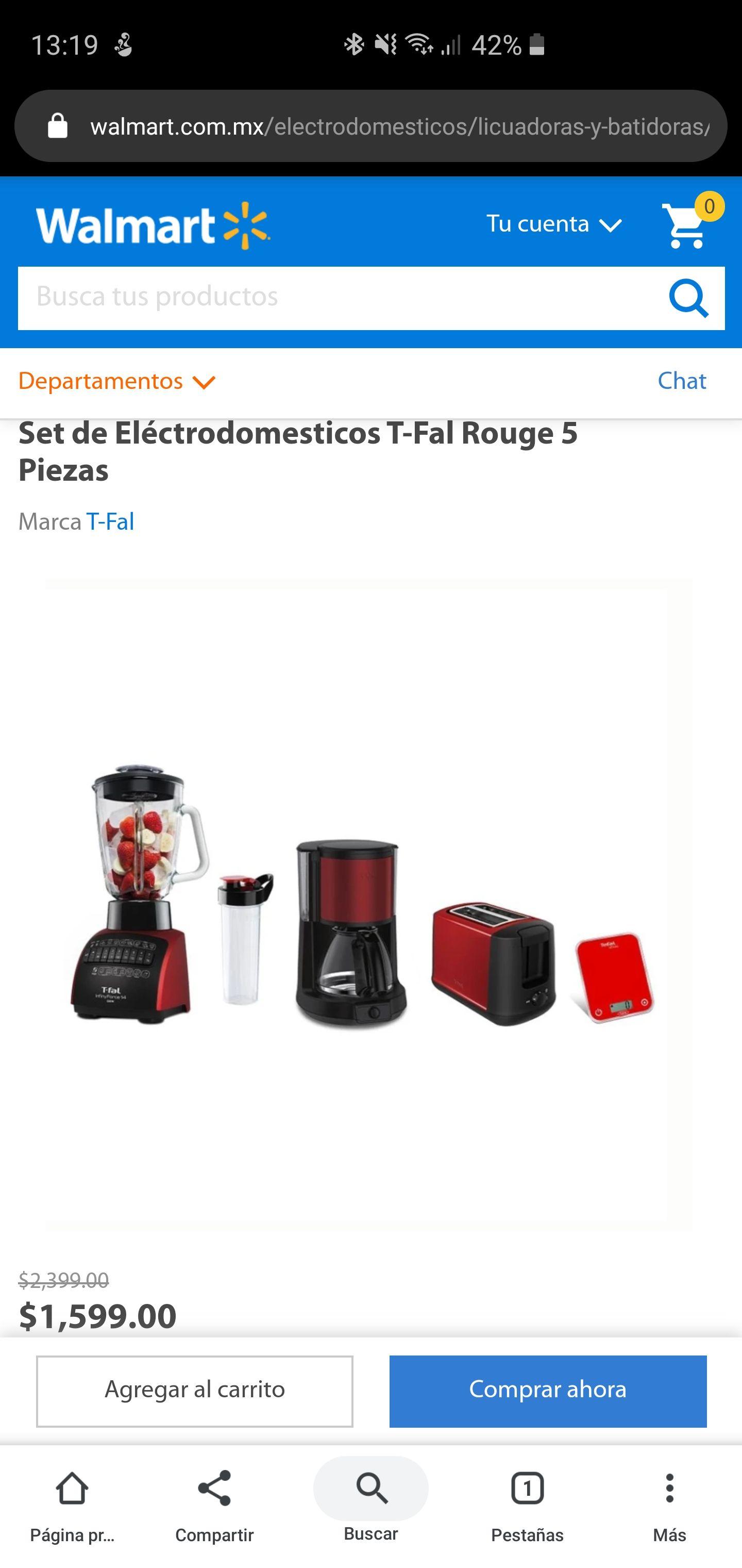 Walmart: Set electrodomésticos T-Fal