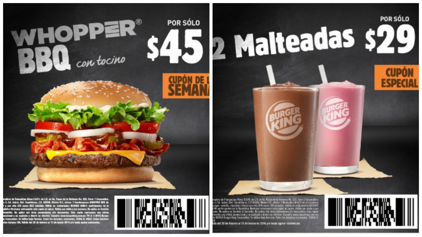 Burger King: Whopper BBQ $45 Malteadas 2x$29