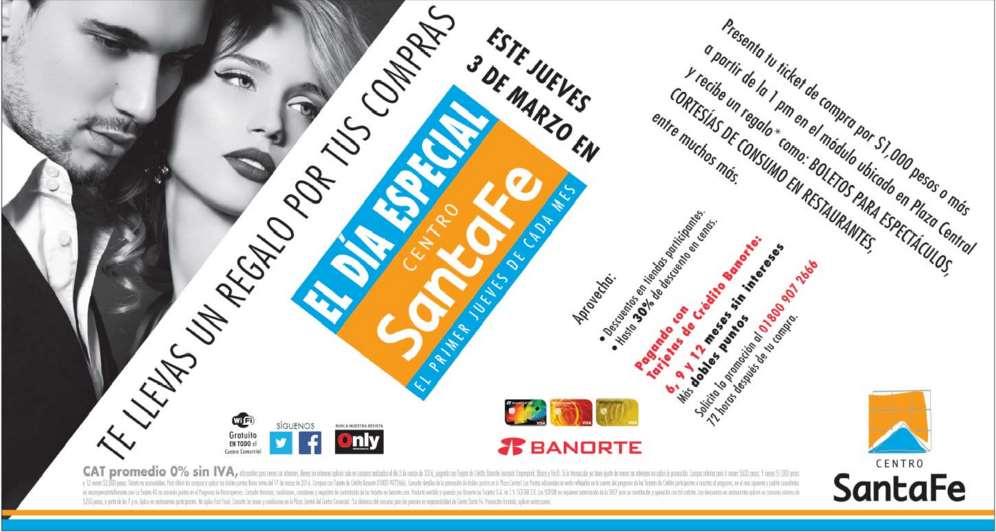 Día especial Centro Santa Fe (DF): promociones especiales el primer jueves de cada mes