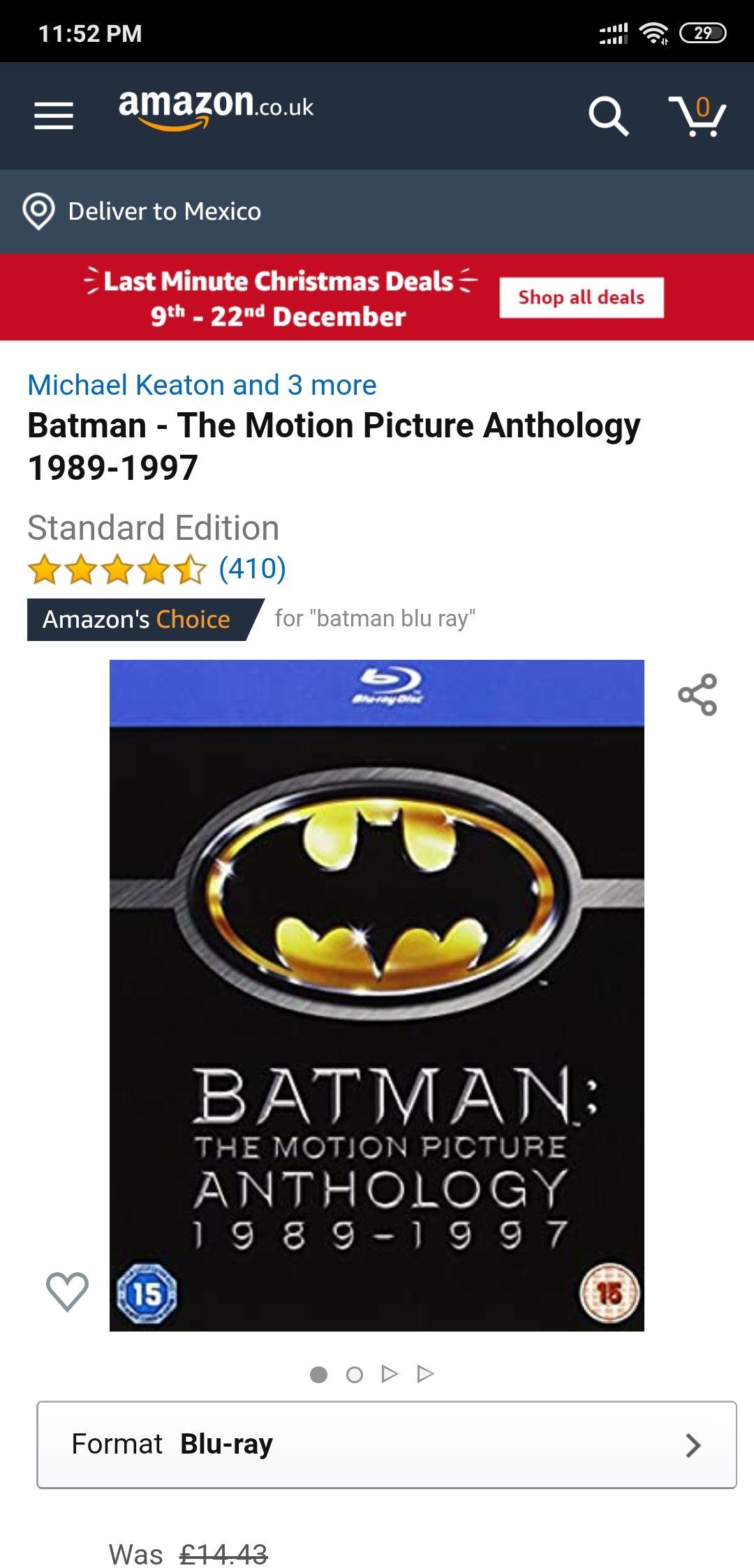 Amazon uk: Blueray Batman antología 1989-1997