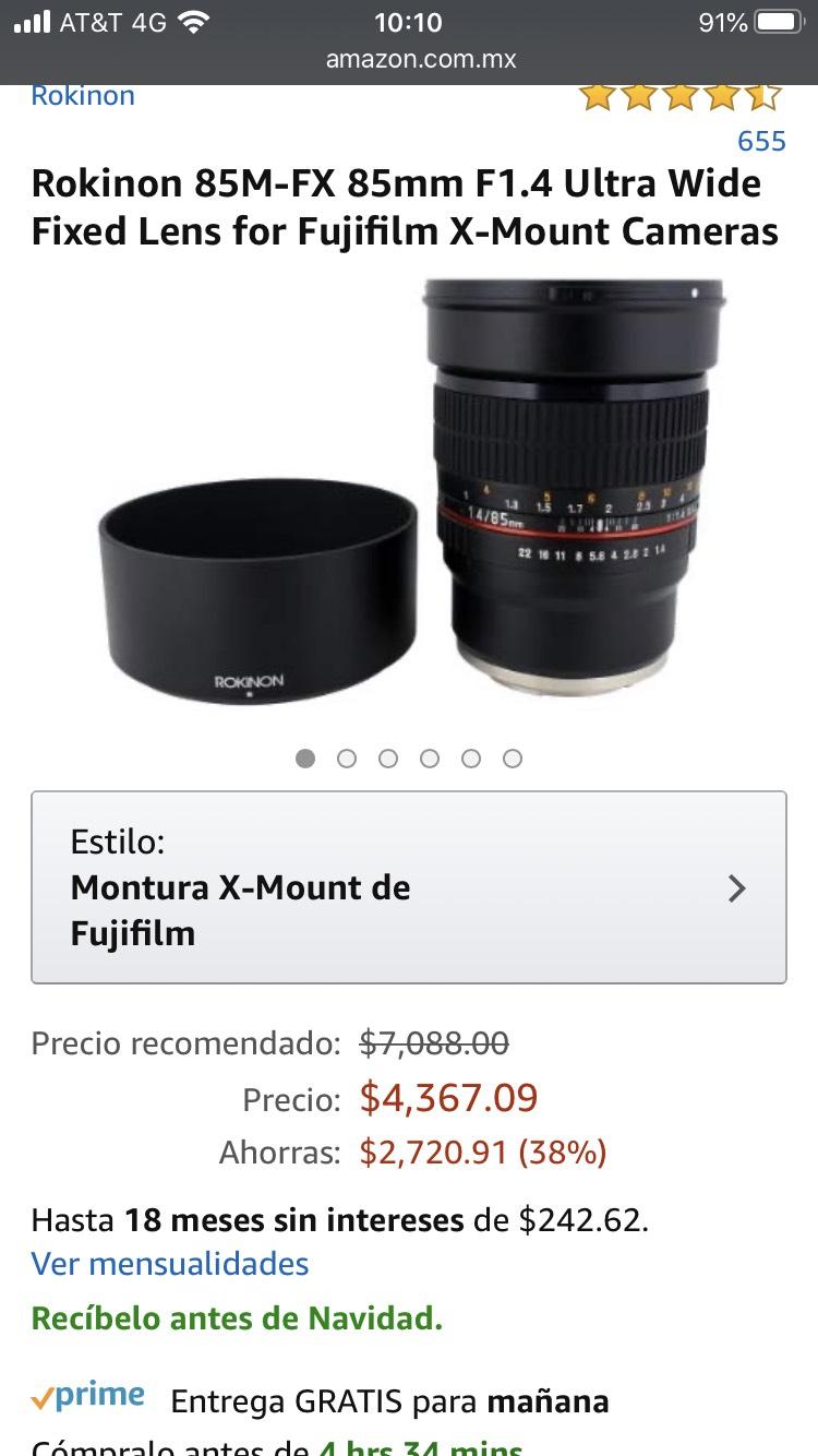Amazon: Rokinon 85 mm 1.4 Fujifilm X-Mount