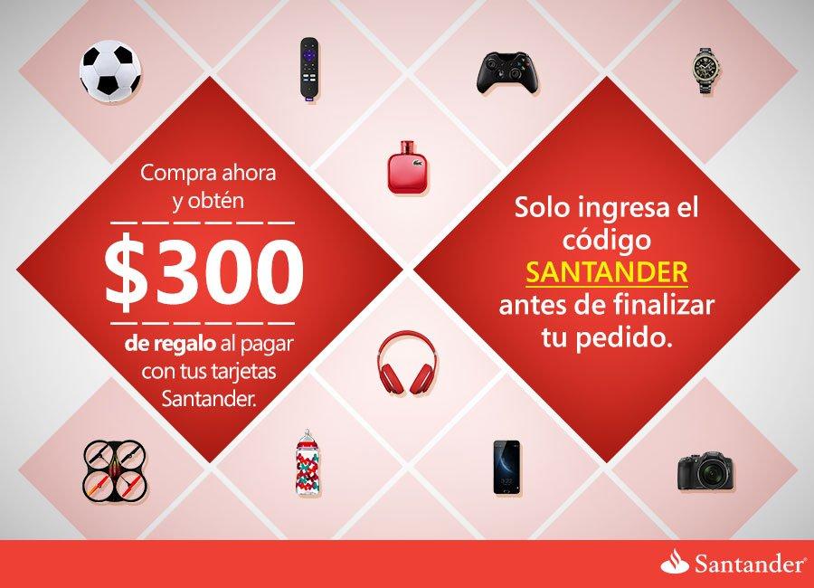 Amazon México: cupón de $300 pesos de descuento al pagar con tarjetas Santander