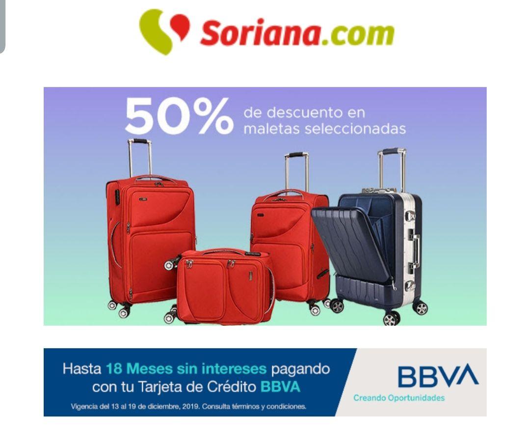 Soriana 50% de descuento en maletas