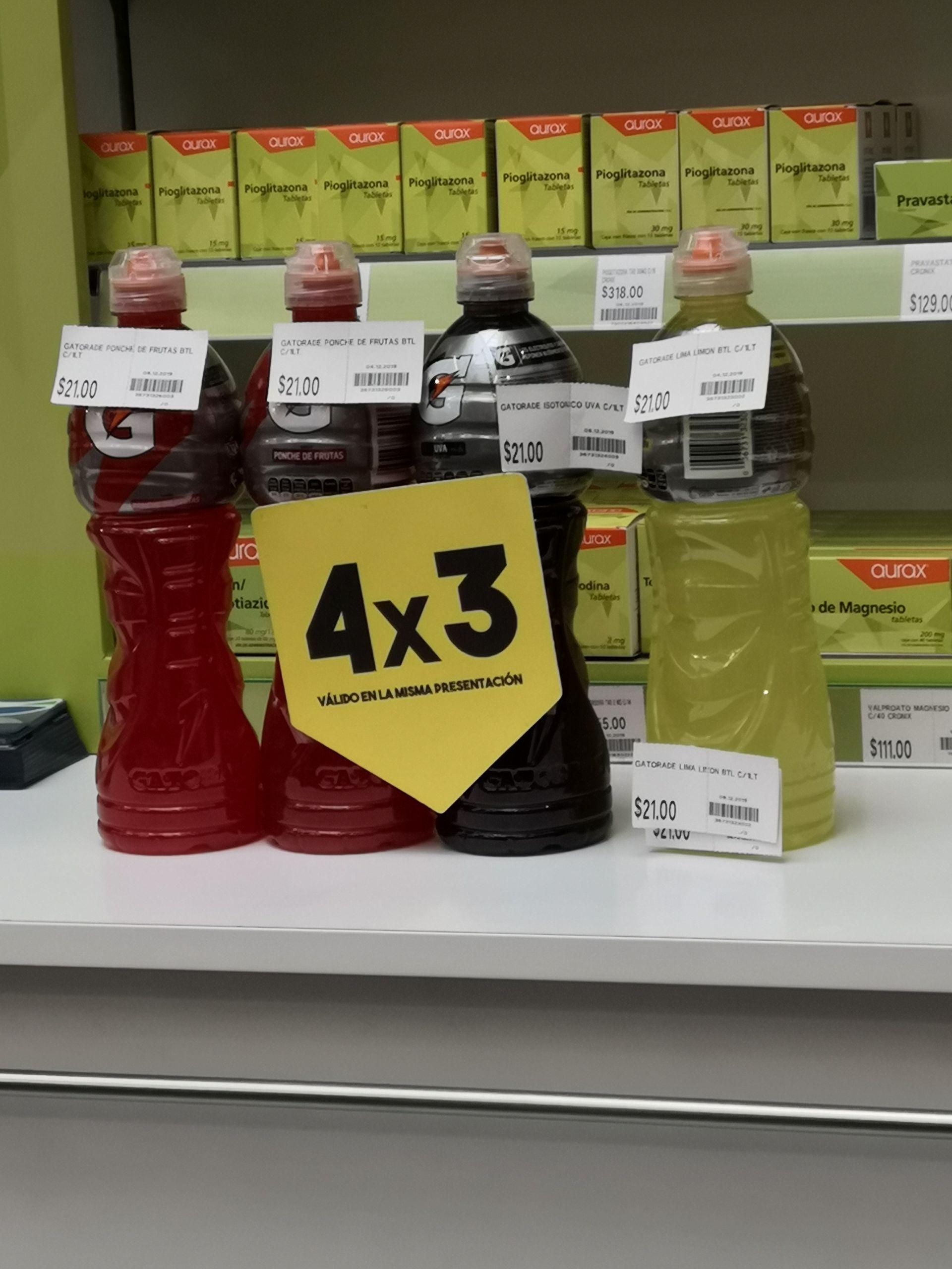 Gatorade 4x3 en Farmacias San Pablo. Mismo sabor