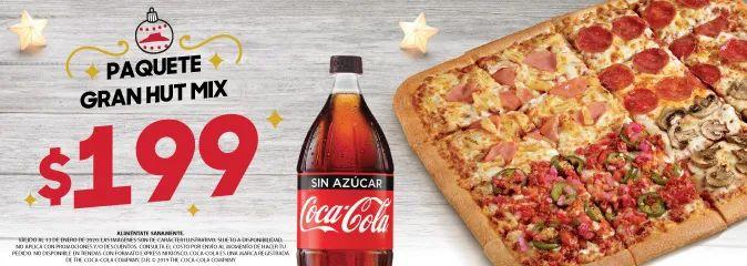 Pizza Hut: Paquete Gran Hut Mix de 16 rebanadas más refresco