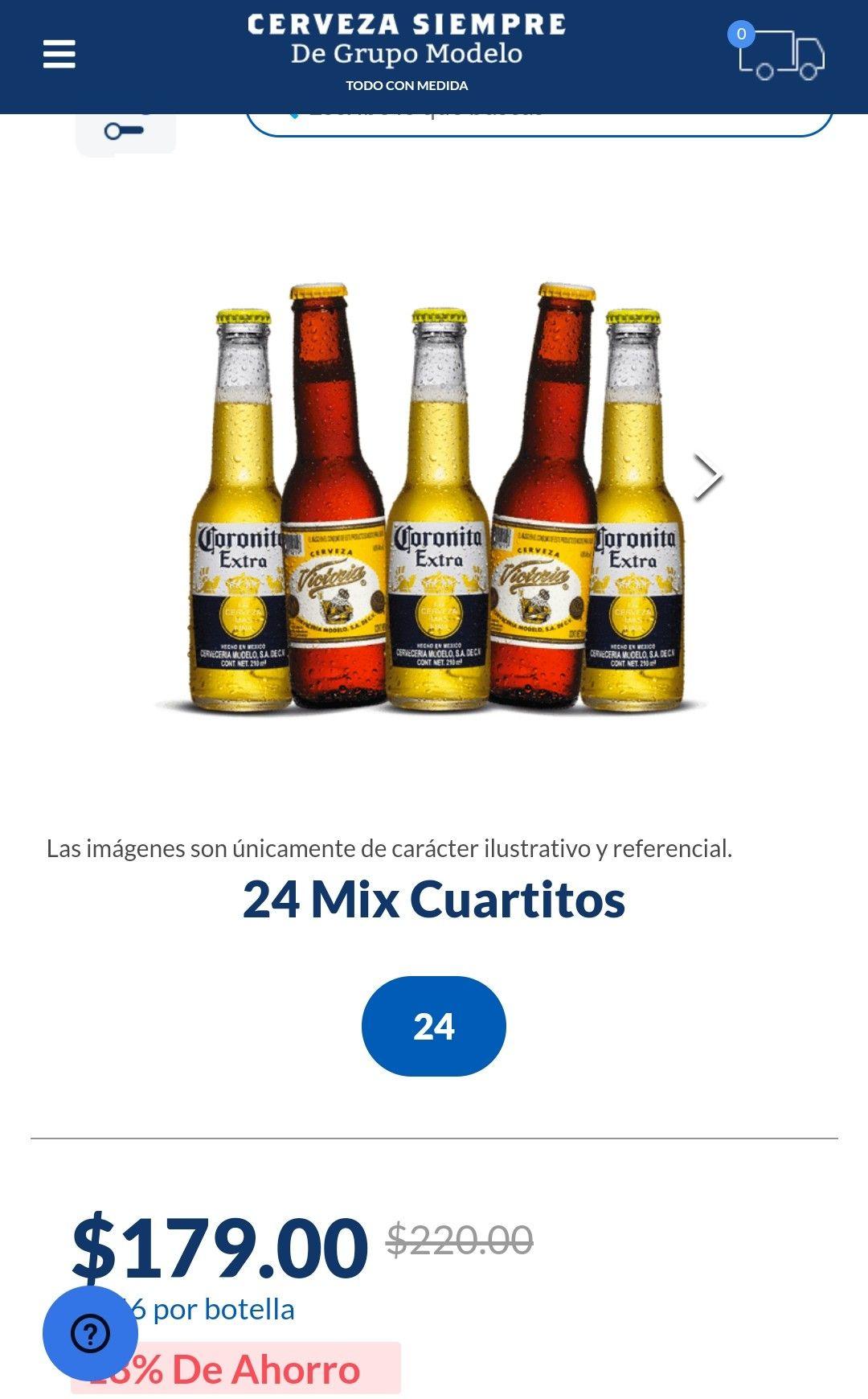 Cerveza siempre: 24 cuartitos victoria y coronita