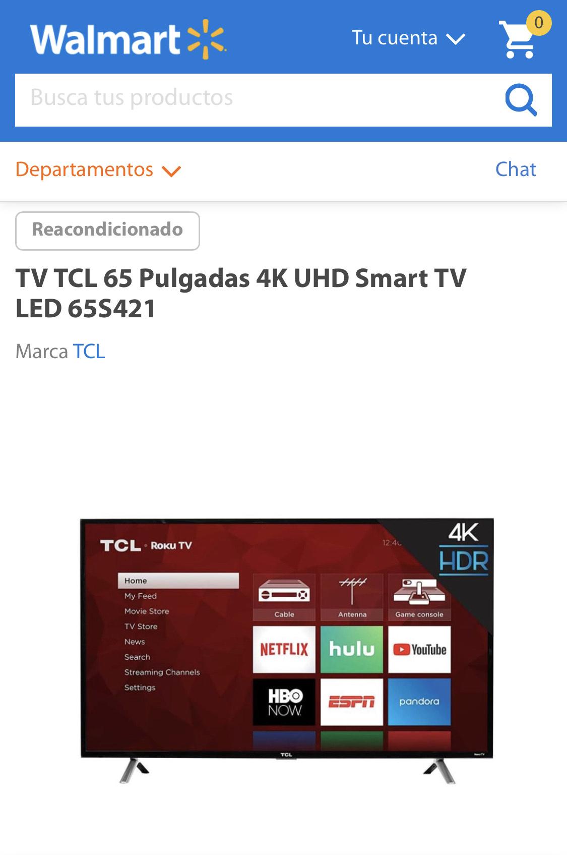 Walmart: TV TCL 65 Pulgadas 4K UHD Smart TV LED 65S421 reacondicionada