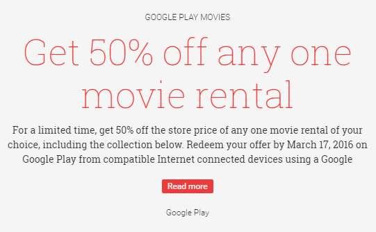 Google Play: 50% de descuento en cualquier película en renta