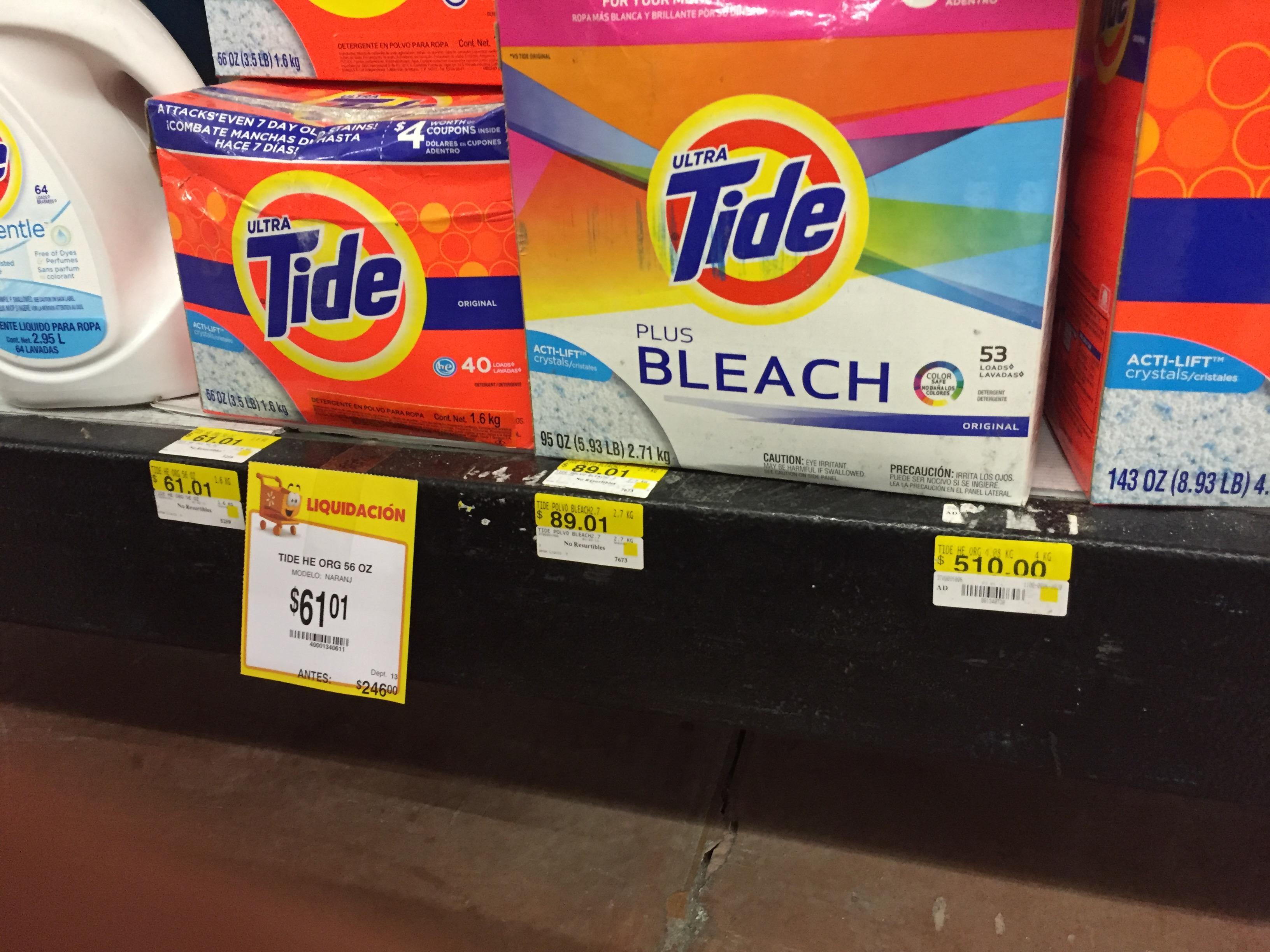 Walmart Horizonte: Detergenre Tide desde 60.01 y Esponja Clorox en 3.01