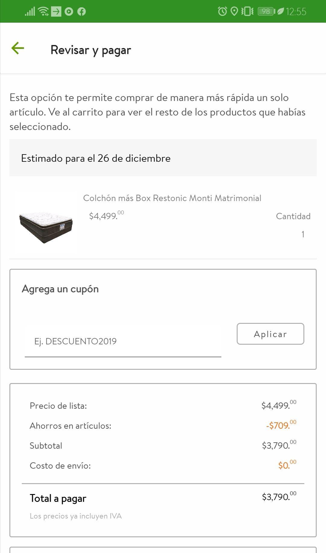 Walmart y Bodega Aurrera: colchón Restonic matrimonial +Box