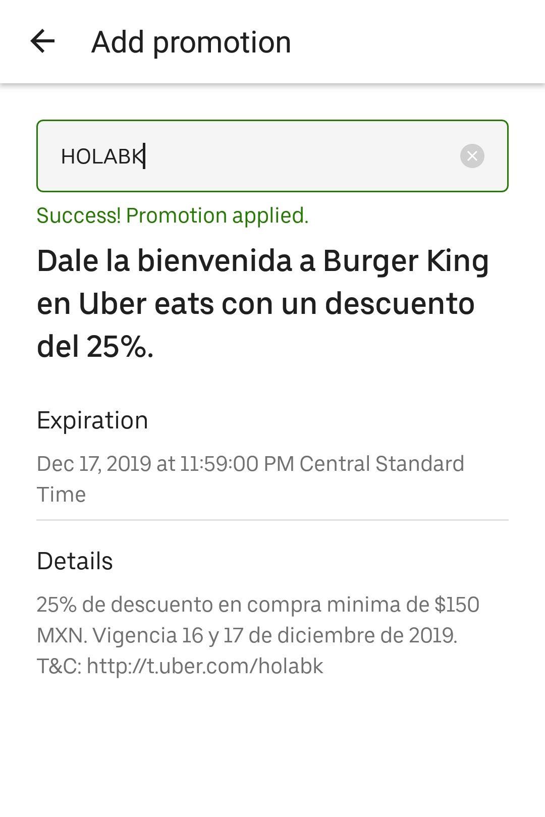 Uber Eats y Burger King. 25% descuento