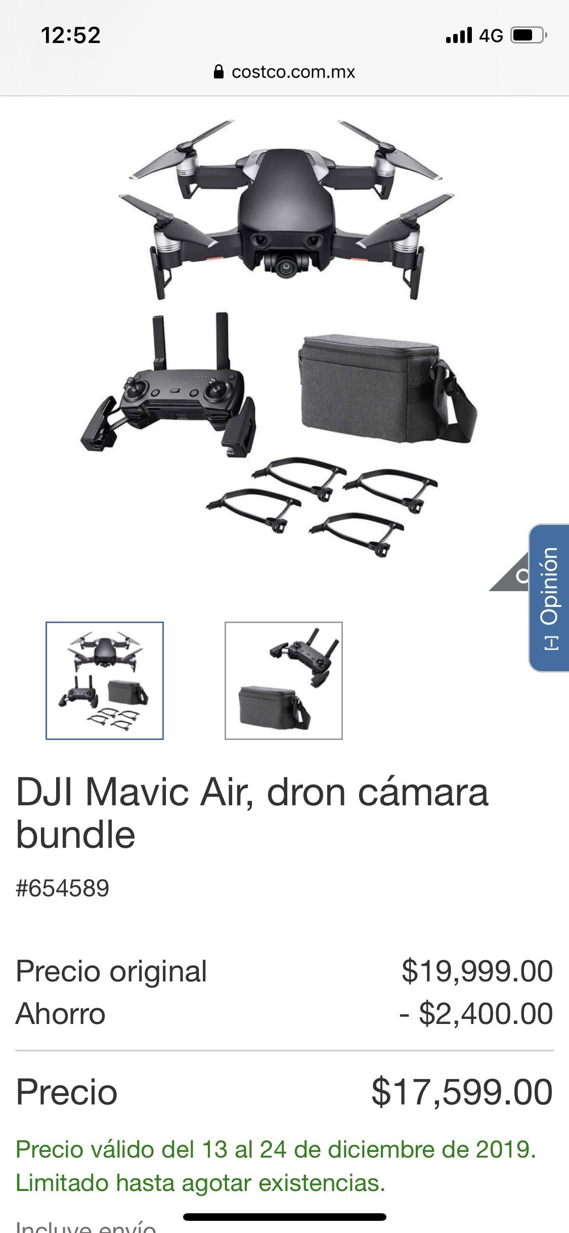 Costco: DJI Mavic Air, dron cámara bundle