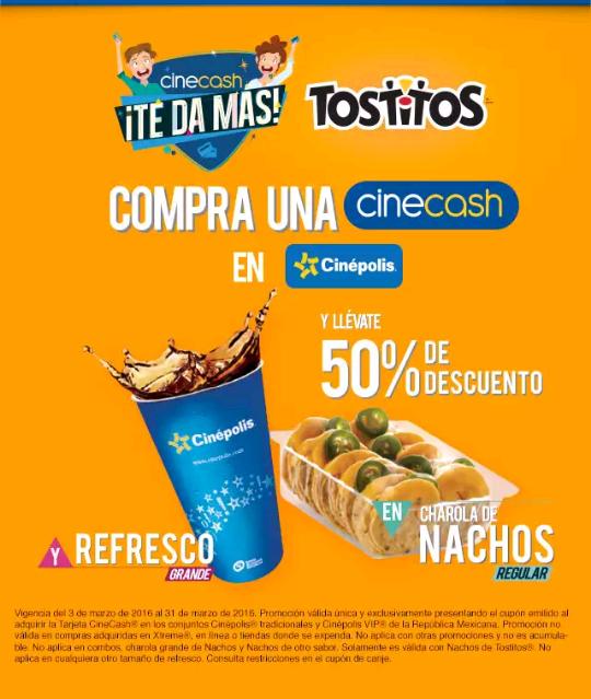 Cinépolis: 50% de descuento en nachos y refresco comprando Cinecash