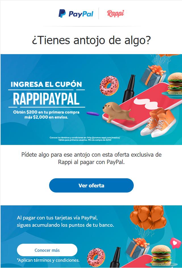 RAPPI + PAYPAL, DESCUENTO DE $200 PESOS y $2000 par envíos (NUEVOS USUARIOS)