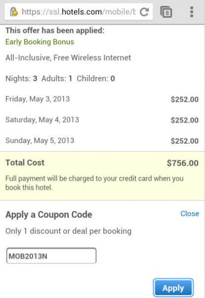 10% de descuento en hotels.com reservando en sitio móvil